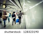 business people walk at subway... | Shutterstock . vector #128323190