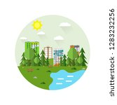circle cityscape with a lot of... | Shutterstock .eps vector #1283232256