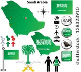 Vector of Saudi Arabia set with detailed country shape with region borders, flags and icons