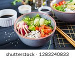 hawaiian salmon fish poke bowl... | Shutterstock . vector #1283240833