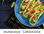 mexican tacos with chicken meat ... | Shutterstock . vector #1283241016