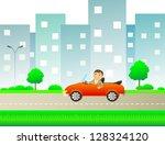 happy cartoon man with car... | Shutterstock . vector #128324120