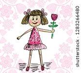 girl with flower. vector... | Shutterstock .eps vector #1283266480