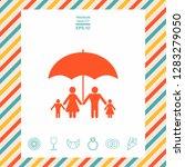 family under umbrella   family... | Shutterstock .eps vector #1283279050