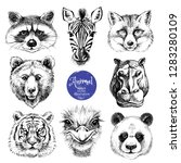 hand drawn sketch animal heads... | Shutterstock .eps vector #1283280109