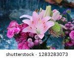 pink flower florist bouquet... | Shutterstock . vector #1283283073