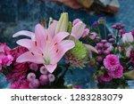 pink flower florist bouquet... | Shutterstock . vector #1283283079