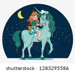 cute princess girl with unicorn | Shutterstock .eps vector #1283295586