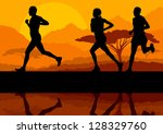 marathon runners in wild nature ...   Shutterstock .eps vector #128329760