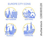 europe city icons. set of four... | Shutterstock .eps vector #1283305120
