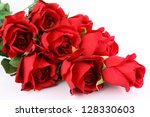Stock photo red roses isolated on white background 128330603