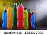 plastic bottles of assorted... | Shutterstock . vector #1283311000