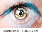concept of sensor implanted... | Shutterstock . vector #1283312629