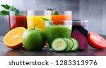 glasses with fresh organic... | Shutterstock . vector #1283313976