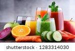glasses with fresh organic... | Shutterstock . vector #1283314030