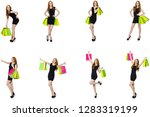 young woman wth bags in... | Shutterstock . vector #1283319199