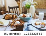 country breakfast on rustic... | Shutterstock . vector #1283333563