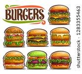vector set of fresh burgers  7... | Shutterstock .eps vector #1283355463