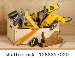 carpentry concept.wooden box... | Shutterstock . vector #1283357020