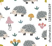 childish seamless pattern with... | Shutterstock .eps vector #1283366839