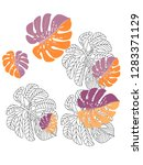 vector tropical pattern with... | Shutterstock .eps vector #1283371129