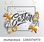 happy easter handwritten... | Shutterstock .eps vector #1283376973