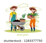 young couple are working in the ... | Shutterstock .eps vector #1283377750