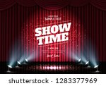 showtime banner with curtain... | Shutterstock .eps vector #1283377969