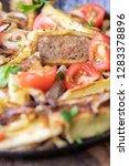 swabian maultasche with onions...   Shutterstock . vector #1283378896