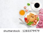 crepes  thin pancakes or blini... | Shutterstock . vector #1283379979