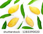 mango with leaves on a white... | Shutterstock . vector #1283390020