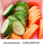 vegan nutrition  fresh cucumber ... | Shutterstock . vector #1283398729