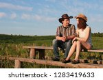 cute couple on a walk by the...   Shutterstock . vector #1283419633