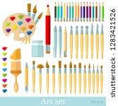 brushes  color pencils  pens...   Shutterstock .eps vector #1283421526