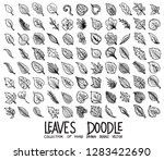 set of leaves icons drawing... | Shutterstock .eps vector #1283422690