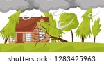 strong wind breaks trees....   Shutterstock .eps vector #1283425963