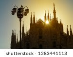 silhouette of the milan...   Shutterstock . vector #1283441113
