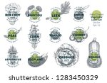 labels with various vegetables. ... | Shutterstock .eps vector #1283450329