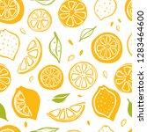 seamless pattern with lemons.... | Shutterstock .eps vector #1283464600