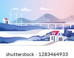 abstract countryside landscape. ... | Shutterstock .eps vector #1283464933