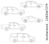 outline cars set. side view.... | Shutterstock .eps vector #1283467279