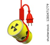 3D-illustration, nuclear barrel hanging at gallows