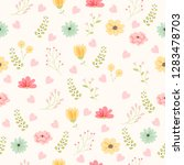 vector floral pattern in doodle ... | Shutterstock .eps vector #1283478703