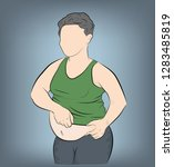 fat man with a big belly.... | Shutterstock .eps vector #1283485819