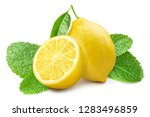 group of lemons with mint... | Shutterstock . vector #1283496859