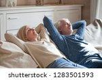 positive serene mature couple... | Shutterstock . vector #1283501593