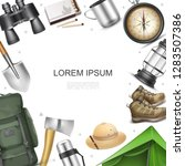 realistic camping elements... | Shutterstock .eps vector #1283507386