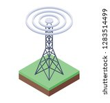 wifi tower  isometric vector... | Shutterstock .eps vector #1283514499