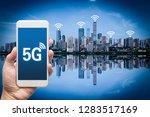 hand holding mobile smart phone ... | Shutterstock . vector #1283517169