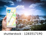mobile gps navigation on mobile ... | Shutterstock . vector #1283517190